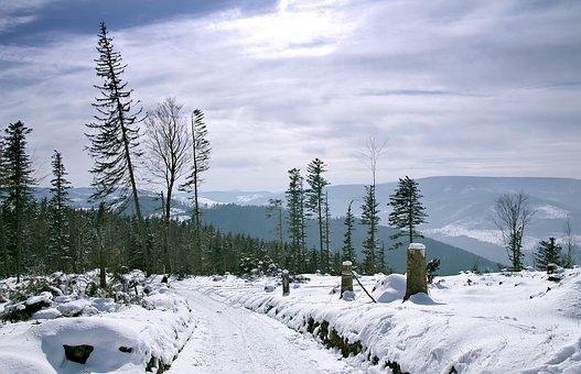 Winter, Mountains, Snow, Way, The Path, Landscape
