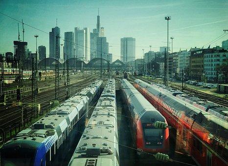 Frankfurt, Skyline, Skyscraper, Trains, Railway