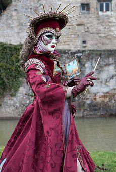Dress, Venetian, Costume, Carnival, Panel, Mask, Venice