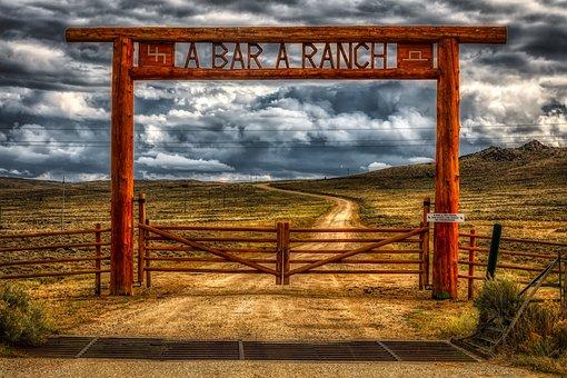Wyoming, America, Ranch, Gate, Dirt Road, Sign, Sky