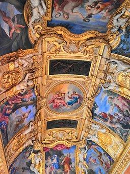 Museum, Paris, Art, Ceiling, Gold, Colors, Frescoes