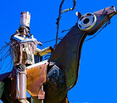 Blackfeet Warriors Statue, Sculpture, Metal, Scrap