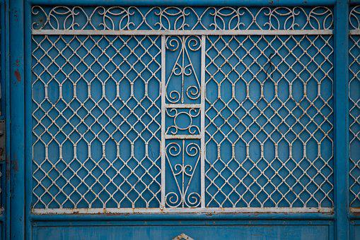 Blue Fence, Fence, Fence Grid, Grid, Blue Texture