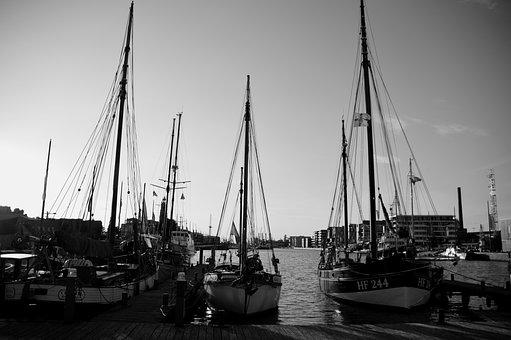Black And White, White, Black, Sunset, Landscape, Boats