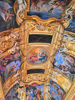 Museum, Paris, Art, Ceiling, Gold, Colors, Frescoes