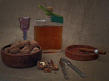 Pleasure, Nuts, Liqueur, Cigar, Still Life, Arrangement