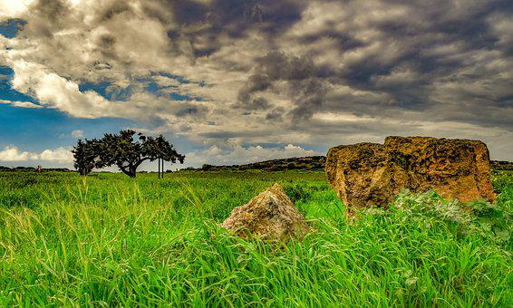 Rocks, Tree, Landscape, Nature, Panoramic, Sky, Clouds