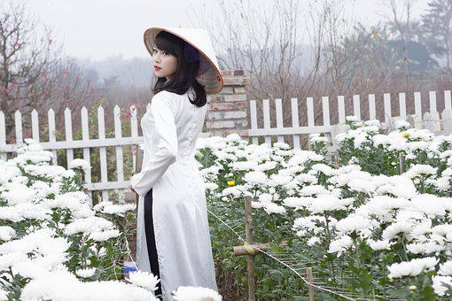 Girl, Ao Dai, Flower, Garden, Nature, Portrait, Female