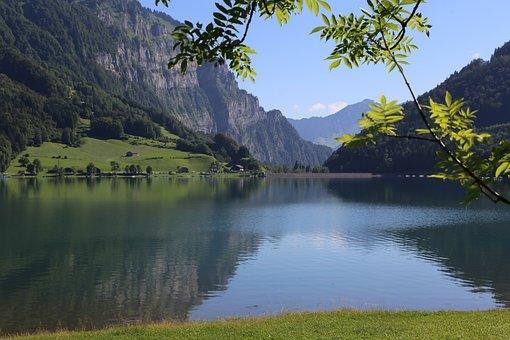 Lake, Klöntal, Summer, Glarus, Nature, Lake Klöntal