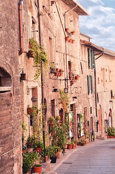 Street In Assisi, Assisi, Scenery, Italy, Landscape