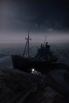 Wreck, Ship, Shipwreck, Abandoned, Landscape, Decay
