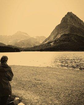 Swiftcurrent Lake, Mountain, Lake, Nature, Landscape