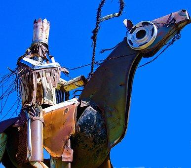 Blackfeet Warriors Statue, Sculpture, Metal, Scrap