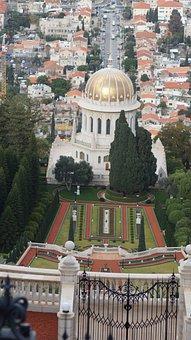 Garden, Mosque, Israel, Large City Of Haifa