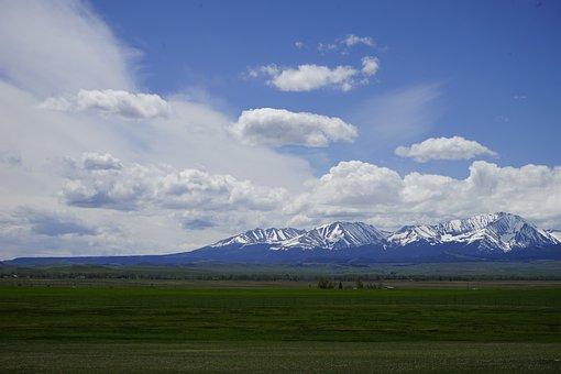 Crazy Mountains Montana, Mountains, Prairie, Landscape