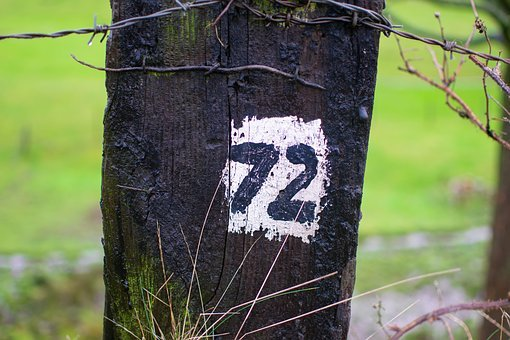 Number, 72, Post, Canal Side, Painted, Black, White