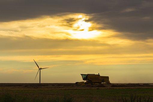 Combine Harvester, Pinwheel, Evening, Sun, Mood