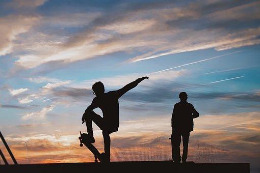 Skateboard, Pipe, Sunset, Silhouette, Skater