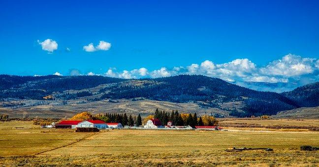 Wyoming, America, Ranch, Farm, Barns, Landscape, Nature