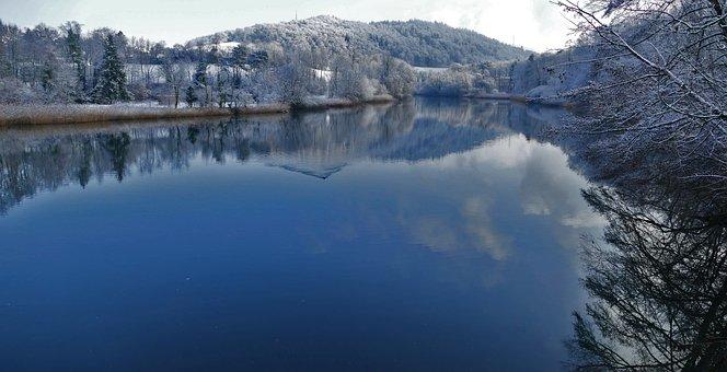 Nature, Landscape, Winter, River, Bank, Wakd, Trees