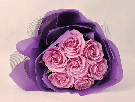 Romantic, Paper, Pink, Purple, Rose, Crepe Paper