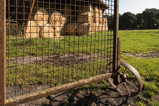Goal, By Looking, Straw Bales, Harvest, Rust, Gate