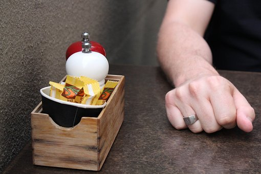 Café, Cafe Table, Fist, Hand, Pepper, Salt, Service