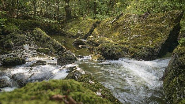 Waterfall, Stream, Nature, Flowing, Scenic, Scenery