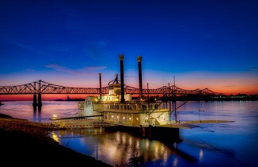 Casino Boat, Ship, Gambling, Mississippi River, Bridge