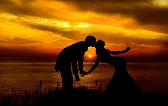 Couple, Silhouette, Sunset, Sunrise, Landscape, Love