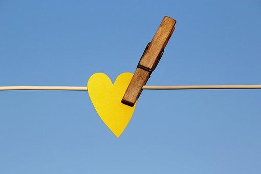 Heart, Clothes Peg, Clothes Line, Love, Summer, Sun