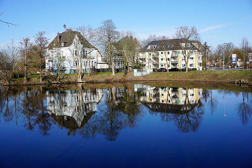 Mirroring, Water, Lake, Houses