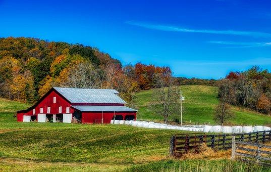 West Virginia, America, Autumn, Fall, Hills, Barn