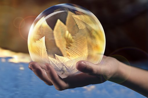 Crystal, Crystal Ball, Ball, Soap Bubble, Frost, Hand