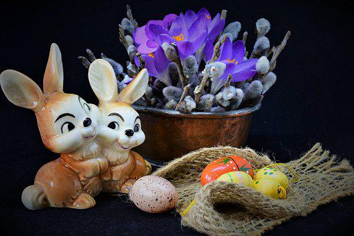 Easter, Easter Theme, Still Life, Crocus, Palm Branches
