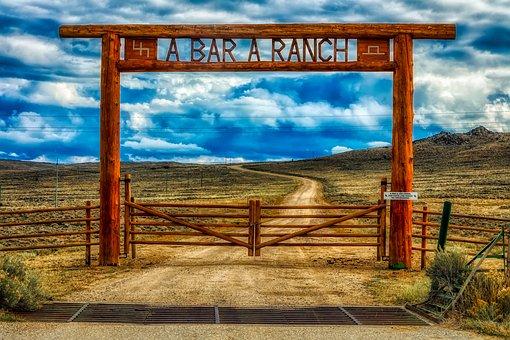 Ranch, Wyoming, America, Gate, Entrance, Gateway, Hdr
