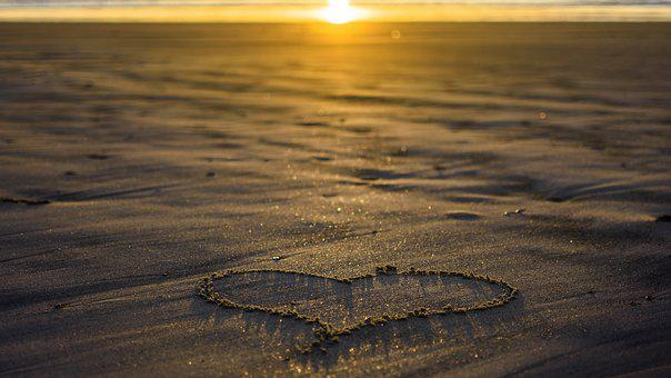 Heart, Love, Sand, Sunset, Evening, Evening Sunset