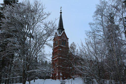 Winter, Church, Landscape, In The Forest, Building
