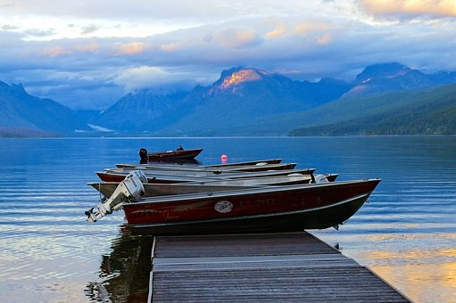 Rental Boats, Lake Mcdonald, Water, Lake, Mcdonald
