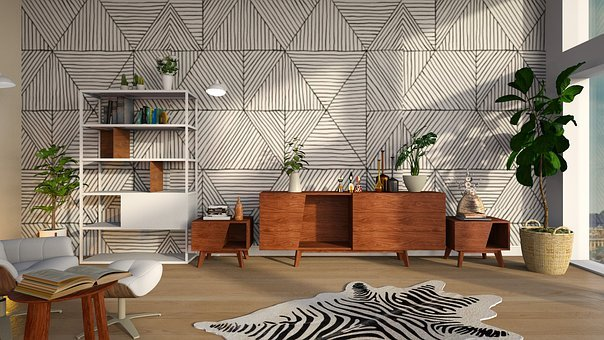 Shelves, Carpet, Geometric Pattern, Room, Light