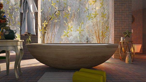 Bathroom, Bath, Christmas, Golden, Decoration, Luxury