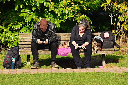 Man, Woman, People, Sitting, Bench, Smartphone, Leisure