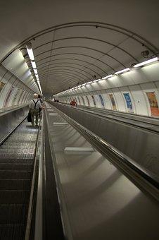 Prague, Metro, Escalator, Urban, Railway Station