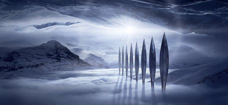 Landscape, Fantasy, Mountains, Cold, Monument, Columnar