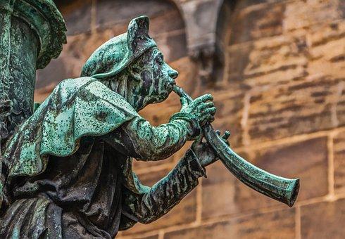 Trumpeter, Blowers, Music, Sculpture, Patina, Green