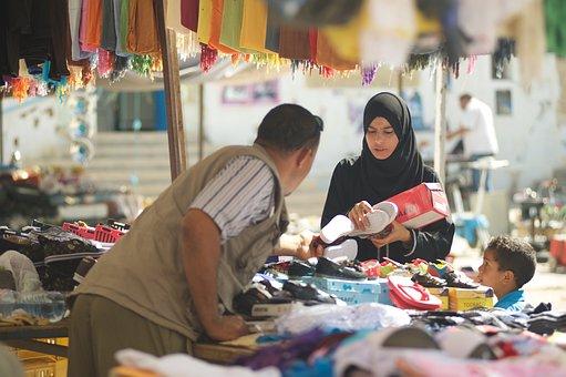 Tunisia, Market, Muslims, Man, Woman, Child, Seller