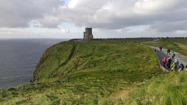 Cliffs Of Moher, O'brien's Tower, Ireland, Water, Sea