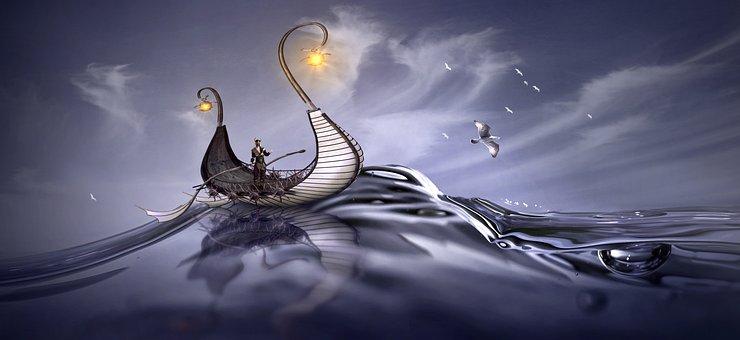 Water, Wave, Fantasy, Ship, Viking, Sea, Ocean