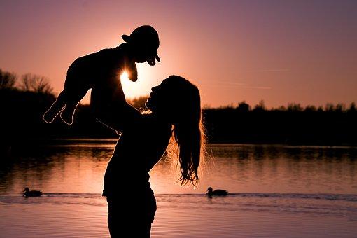 Baby, Human, Girl, Woman, Sunset, Evening, Silhouette