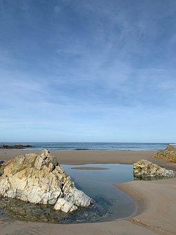 Beach, Sand, Pond, Sea, Sky, Blue, Summer, Spring